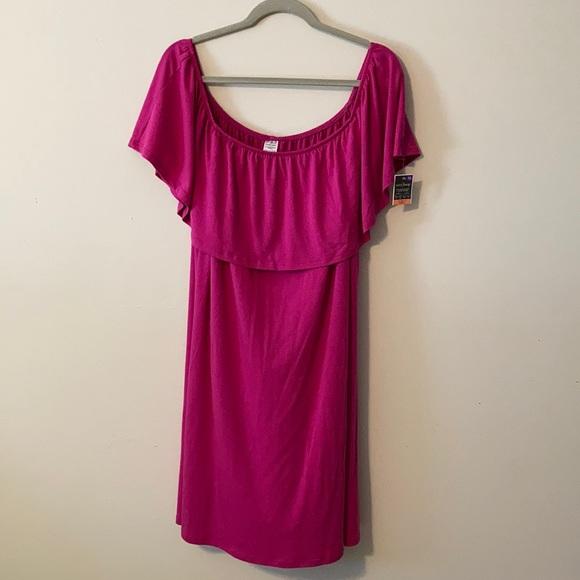 Off the Shoulder Dress magenta pink XL swim cover